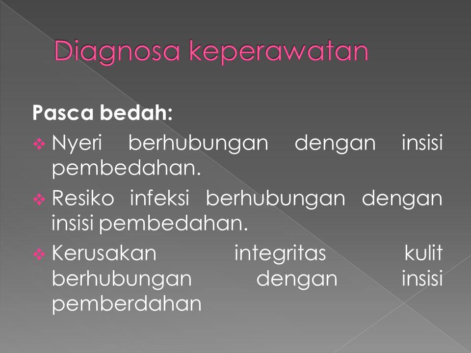 Pasca bedah:  Nyeri berhubungan dengan insisi pembedahan.  Resiko infeksi berhubungan dengan insisi pembedahan.  Kerusakan integritas kulit berhubu