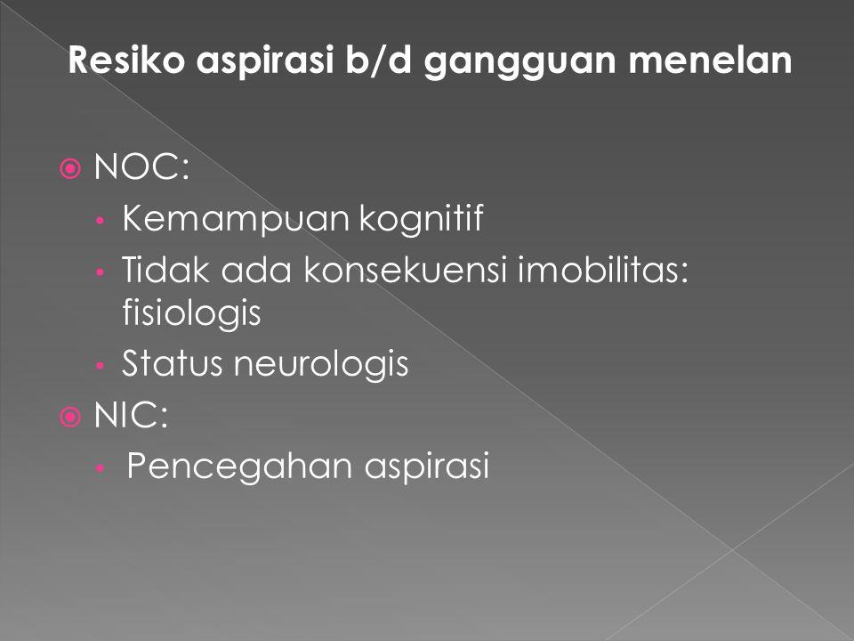 Resiko aspirasi b/d gangguan menelan  NOC: Kemampuan kognitif Tidak ada konsekuensi imobilitas: fisiologis Status neurologis  NIC: Pencegahan aspira