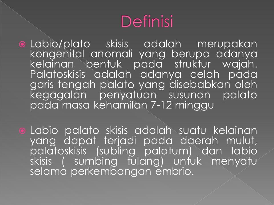  Labio/plato skisis adalah merupakan kongenital anomali yang berupa adanya kelainan bentuk pada struktur wajah. Palatoskisis adalah adanya celah pada