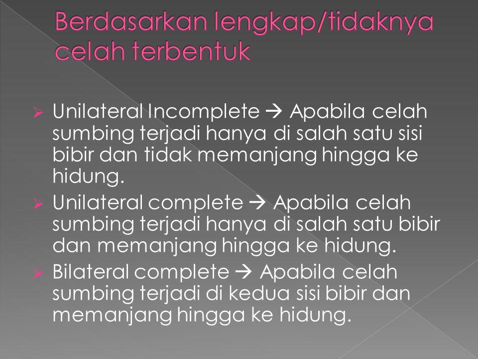  Unilateral Incomplete  Apabila celah sumbing terjadi hanya di salah satu sisi bibir dan tidak memanjang hingga ke hidung.  Unilateral complete  A