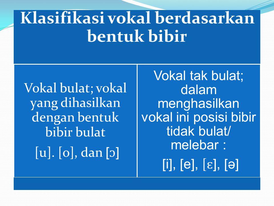 Klasifikasi vokal berdasarkan bentuk bibir Vokal bulat; vokal yang dihasilkan dengan bentuk bibir bulat [u].