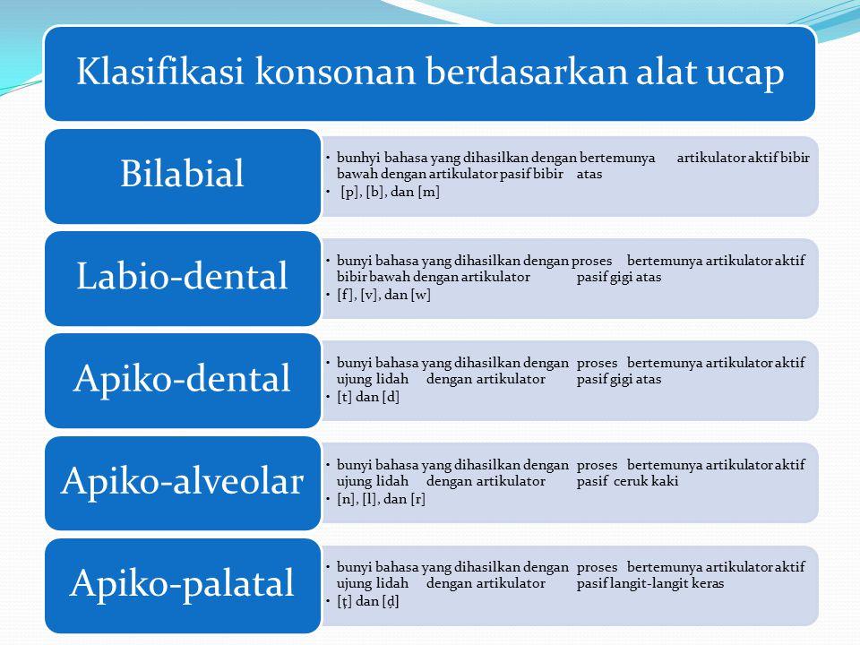 Klasifikasi konsonan berdasarkan alat ucap bunhyi bahasa yang dihasilkan dengan bertemunya artikulator aktif bibir bawah dengan artikulator pasif bibir atas [p], [b], dan [m] Bilabial bunyi bahasa yang dihasilkan dengan proses bertemunya artikulator aktif bibir bawah dengan artikulator pasif gigi atas [f], [v], dan [w] Labio-dental bunyi bahasa yang dihasilkan dengan proses bertemunya artikulator aktif ujung lidah dengan artikulator pasif gigi atas [t] dan [d] Apiko-dental bunyi bahasa yang dihasilkan dengan proses bertemunya artikulator aktif ujung lidah dengan artikulator pasif ceruk kaki [n], [l], dan [r] Apiko-alveolar bunyi bahasa yang dihasilkan dengan proses bertemunya artikulator aktif ujung lidah dengan artikulator pasif langit-langit keras [ţ] dan [ ḑ ] Apiko-palatal