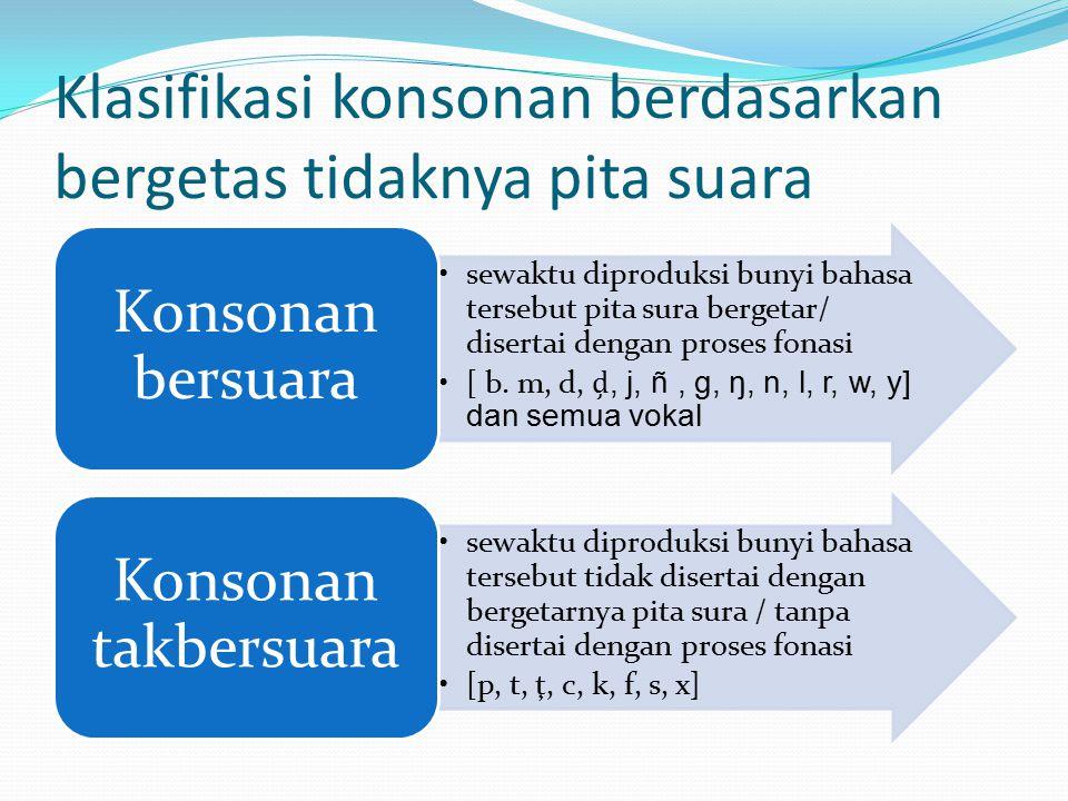Klasifikasi konsonan berdasarkan bergetas tidaknya pita suara sewaktu diproduksi bunyi bahasa tersebut pita sura bergetar/ disertai dengan proses fonasi [ b.