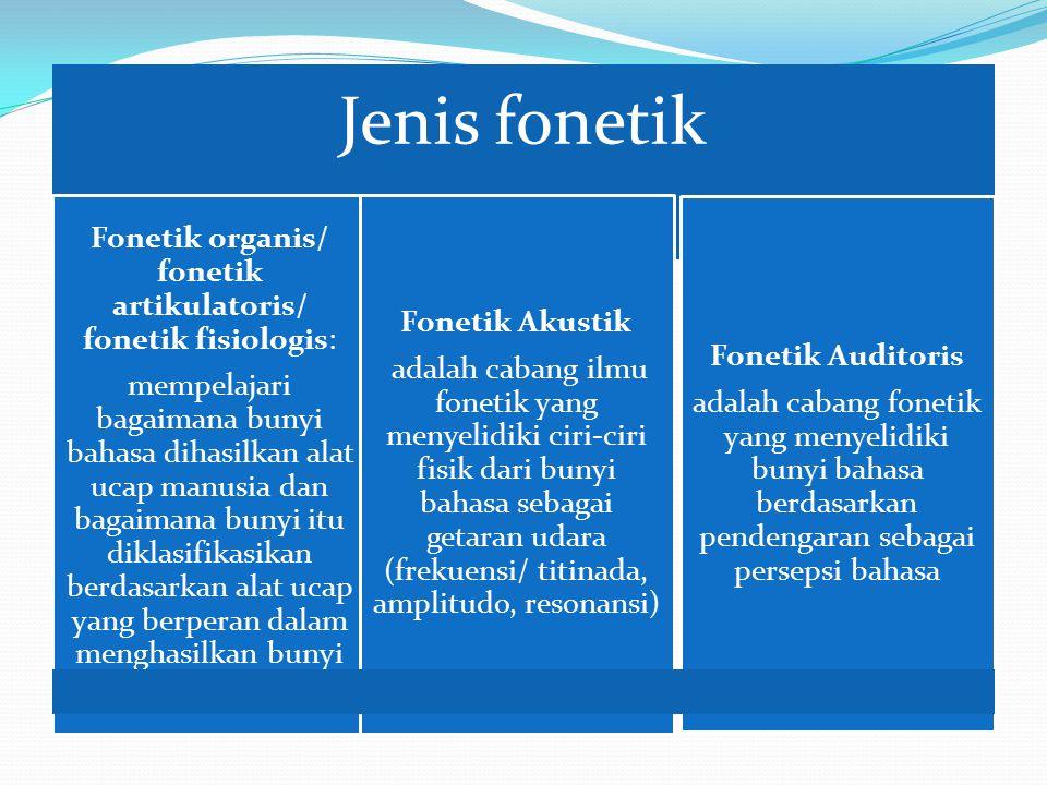 Jenis fonetik Fonetik organis/ fonetik artikulatoris/ fonetik fisiologis: mempelajari bagaimana bunyi bahasa dihasilkan alat ucap manusia dan bagaimana bunyi itu diklasifikasikan berdasarkan alat ucap yang berperan dalam menghasilkan bunyi bahasa tersebut Fonetik Akustik adalah cabang ilmu fonetik yang menyelidiki ciri-ciri fisik dari bunyi bahasa sebagai getaran udara (frekuensi/ titinada, amplitudo, resonansi) Fonetik Auditoris adalah cabang fonetik yang menyelidiki bunyi bahasa berdasarkan pendengaran sebagai persepsi bahasa