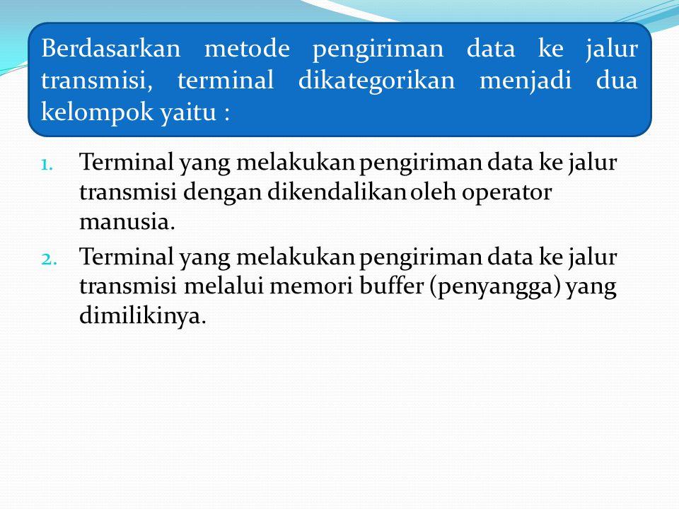 1. Terminal yang melakukan pengiriman data ke jalur transmisi dengan dikendalikan oleh operator manusia. 2. Terminal yang melakukan pengiriman data ke