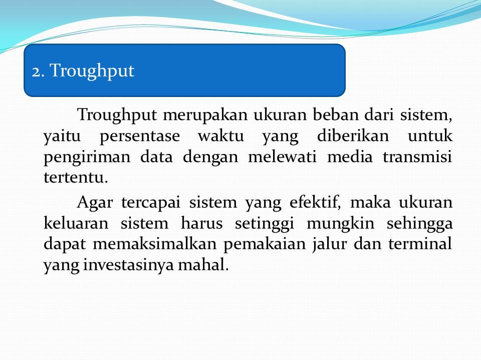 Troughput merupakan ukuran beban dari sistem, yaitu persentase waktu yang diberikan untuk pengiriman data dengan melewati media transmisi tertentu. Ag
