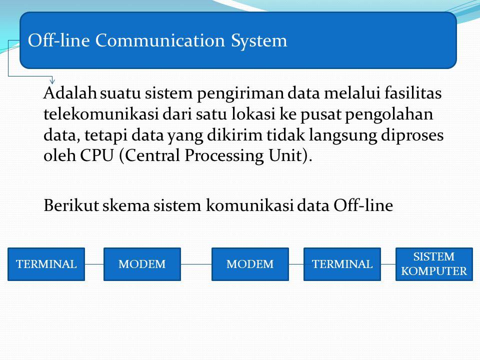 Adalah suatu sistem pengiriman data melalui fasilitas telekomunikasi dari satu lokasi ke pusat pengolahan data, tetapi data yang dikirim tidak langsun