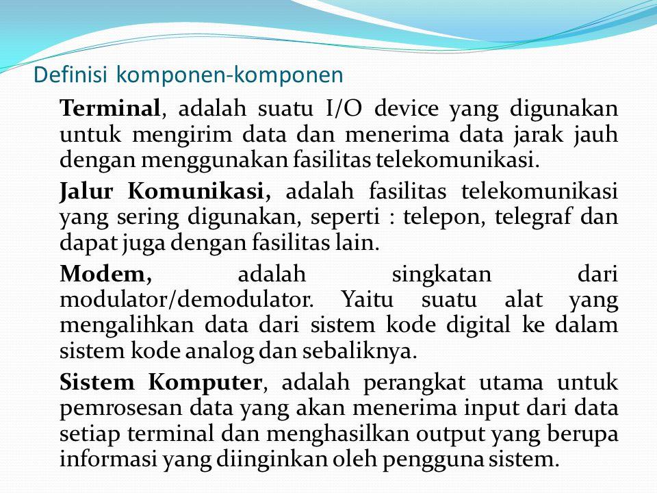 Definisi komponen-komponen Terminal, adalah suatu I/O device yang digunakan untuk mengirim data dan menerima data jarak jauh dengan menggunakan fasili