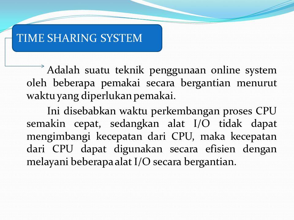 Adalah suatu teknik penggunaan online system oleh beberapa pemakai secara bergantian menurut waktu yang diperlukan pemakai. Ini disebabkan waktu perke