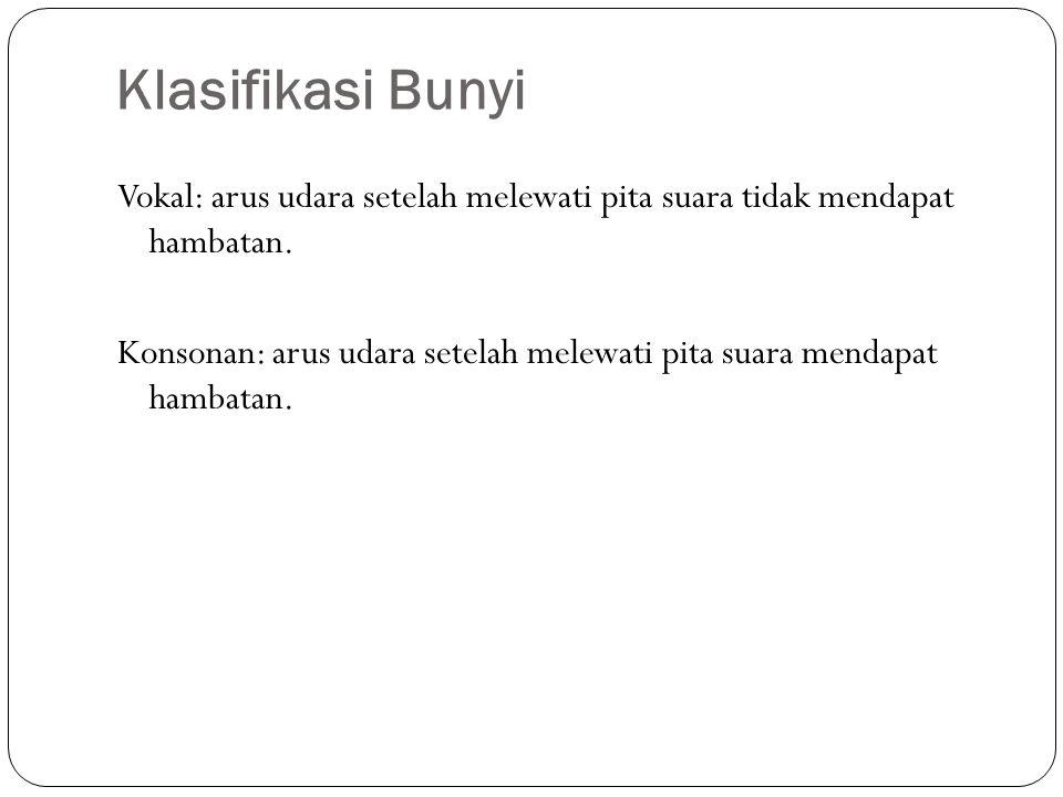 Klasifikasi Bunyi Vokal: arus udara setelah melewati pita suara tidak mendapat hambatan.
