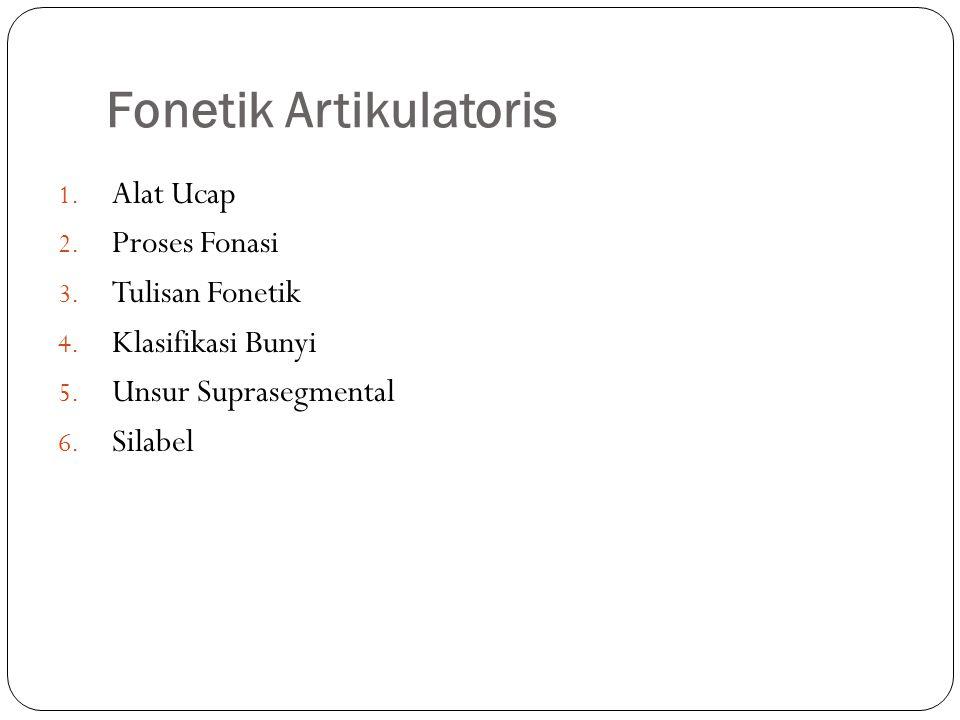 Fonetik Artikulatoris 1.Alat Ucap 2. Proses Fonasi 3.
