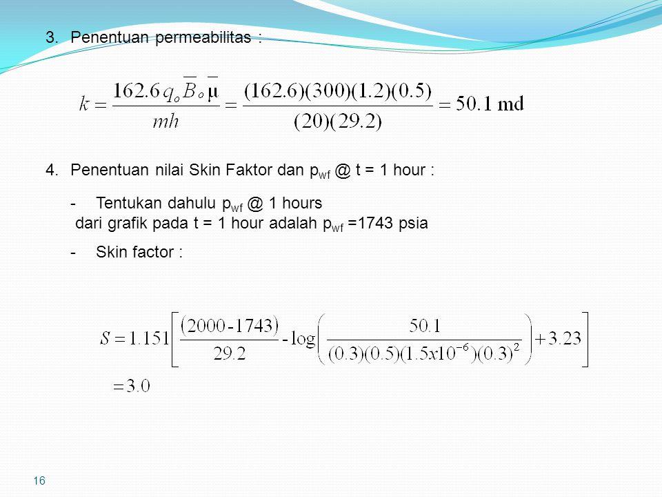 16 3.Penentuan permeabilitas : 4.Penentuan nilai Skin Faktor dan p wf @ t = 1 hour : - Tentukan dahulu p wf @ 1 hours dari grafik pada t = 1 hour adalah p wf =1743 psia -Skin factor :