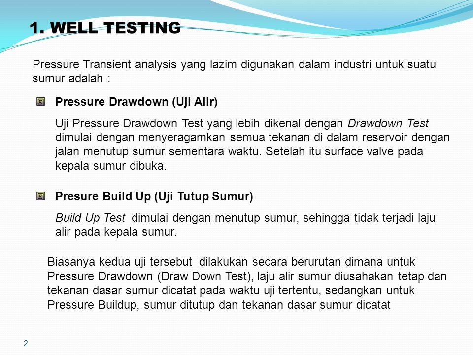 2 1. WELL TESTING Pressure Transient analysis yang lazim digunakan dalam industri untuk suatu sumur adalah : Pressure Drawdown (Uji Alir) Uji Pressure