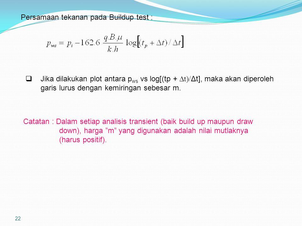 22 Persamaan tekanan pada Buildup test :  Jika dilakukan plot antara p ws vs log[(tp + Δt)/ Δt], maka akan diperoleh garis lurus dengan kemiringan se