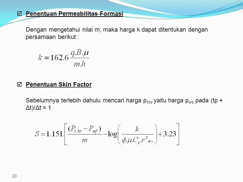 23  Penentuan Permeabilitas Formasi Dengan mengetahui nilai m, maka harga k dapat ditentukan dengan persamaan berikut :  Penentuan Skin Factor Sebelumnya terlebih dahulu mencari harga p 1hr yaitu harga p ws pada (tp + Δt)/Δt = 1