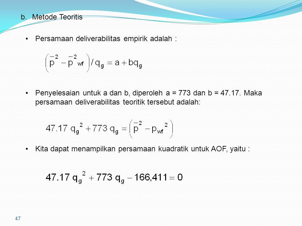 47 b.Metode Teoritis Persamaan deliverabilitas empirik adalah : Penyelesaian untuk a dan b, diperoleh a = 773 dan b = 47.17. Maka persamaan deliverabi