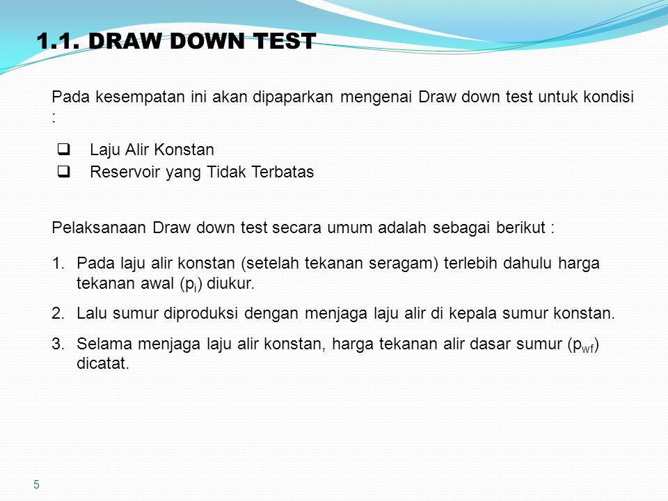 5 1.1. DRAW DOWN TEST Pada kesempatan ini akan dipaparkan mengenai Draw down test untuk kondisi :  Laju Alir Konstan  Reservoir yang Tidak Terbatas