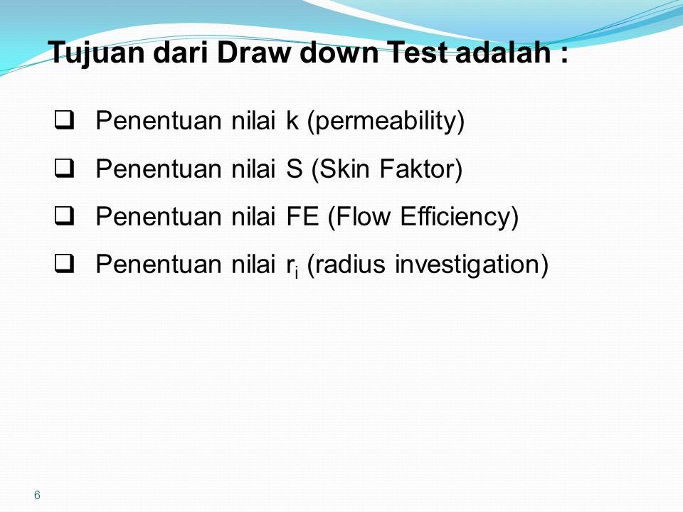 6 Tujuan dari Draw down Test adalah :  Penentuan nilai k (permeability)  Penentuan nilai S (Skin Faktor)  Penentuan nilai FE (Flow Efficiency)  Penentuan nilai r i (radius investigation)