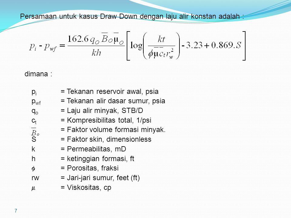 7 Persamaan untuk kasus Draw Down dengan laju alir konstan adalah : dimana : p i = Tekanan reservoir awal, psia p wf = Tekanan alir dasar sumur, psia q o = Laju alir minyak, STB/D c t = Kompresibilitas total, 1/psi = Faktor volume formasi minyak.