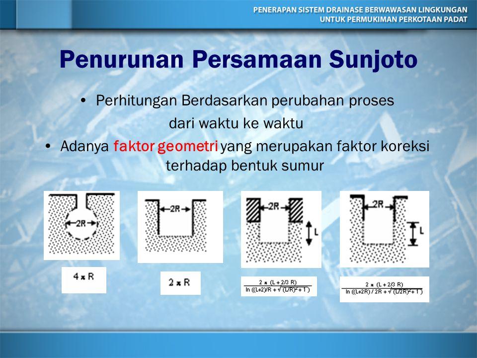 Penurunan Persamaan Sunjoto Perhitungan Berdasarkan perubahan proses dari waktu ke waktu Adanya faktor geometri yang merupakan faktor koreksi terhadap