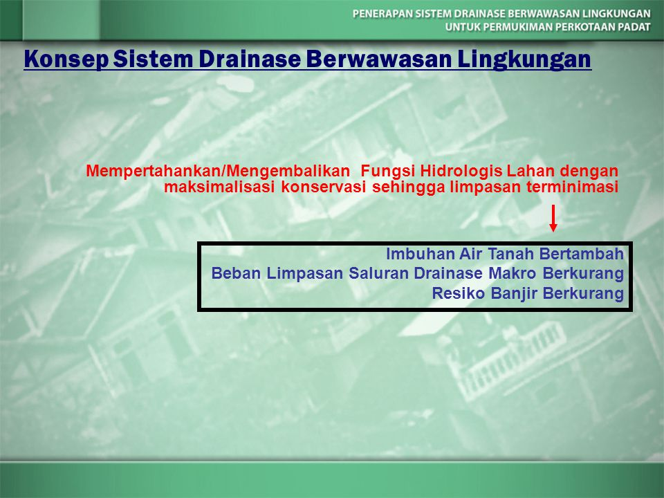 Konsep Sistem Drainase Berwawasan Lingkungan Mempertahankan/Mengembalikan Fungsi Hidrologis Lahan dengan maksimalisasi konservasi sehingga limpasan te