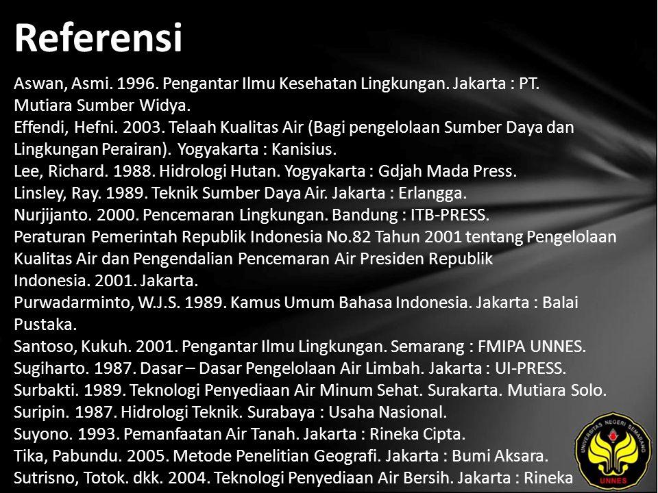 Referensi Aswan, Asmi. 1996. Pengantar Ilmu Kesehatan Lingkungan. Jakarta : PT. Mutiara Sumber Widya. Effendi, Hefni. 2003. Telaah Kualitas Air (Bagi