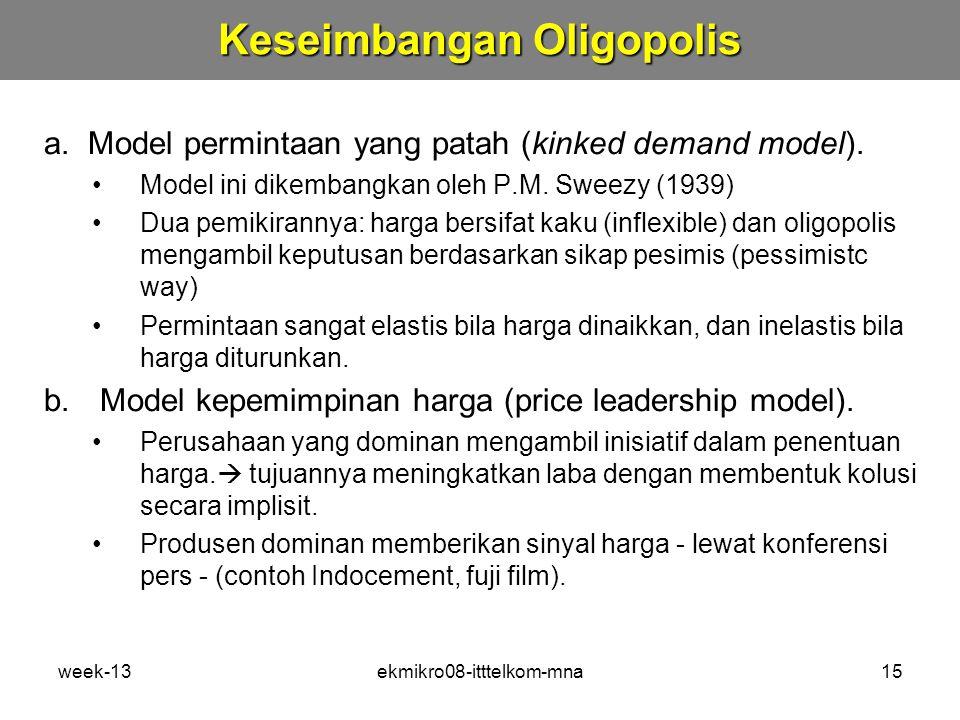 week-13ekmikro08-itttelkom-mna15 a.Model permintaan yang patah (kinked demand model).
