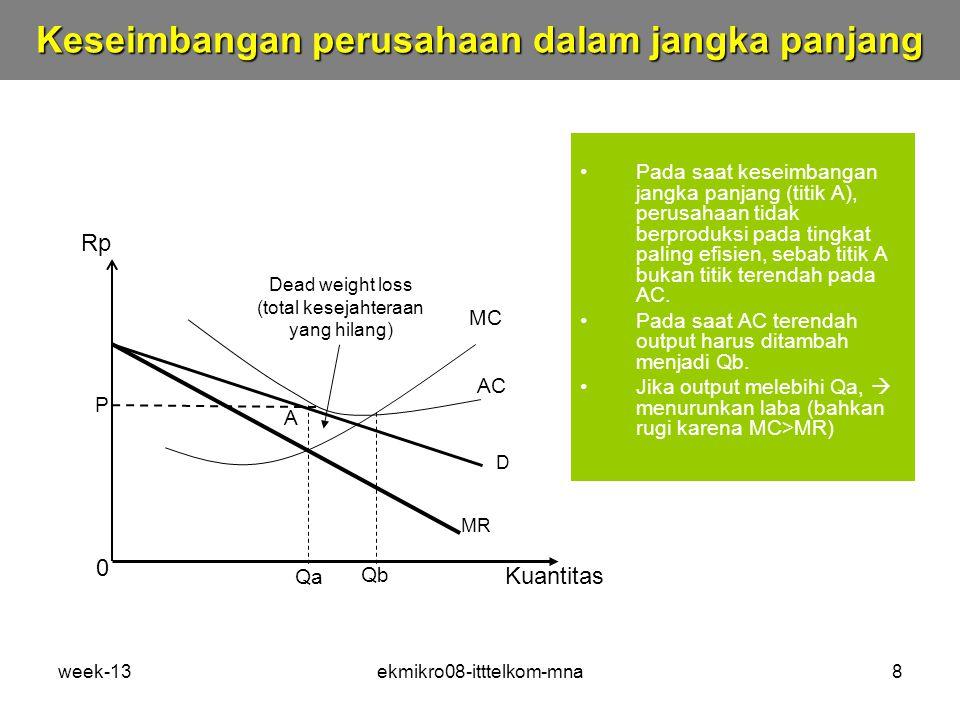 week-13ekmikro08-itttelkom-mna8 Pada saat keseimbangan jangka panjang (titik A), perusahaan tidak berproduksi pada tingkat paling efisien, sebab titik A bukan titik terendah pada AC.