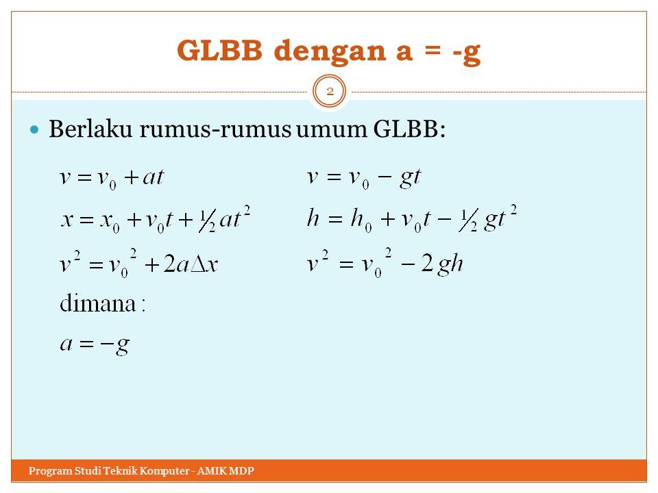 GLBB dengan a = -g Berlaku rumus-rumus umum GLBB: Program Studi Teknik Komputer - AMIK MDP 2