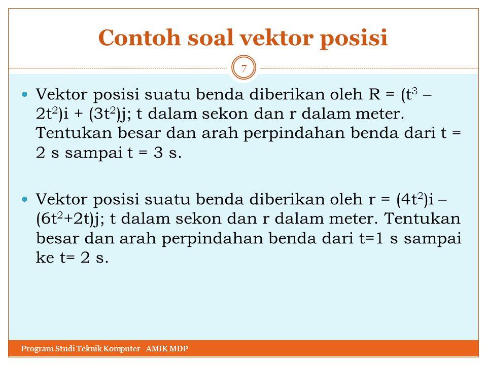 Contoh soal vektor posisi Vektor posisi suatu benda diberikan oleh R = (t 3 – 2t 2 )i + (3t 2 )j; t dalam sekon dan r dalam meter. Tentukan besar dan