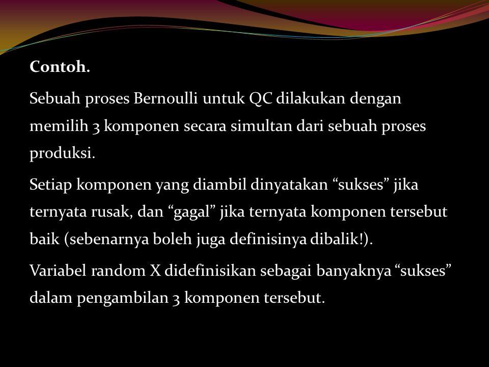 Contoh. Sebuah proses Bernoulli untuk QC dilakukan dengan memilih 3 komponen secara simultan dari sebuah proses produksi. Setiap komponen yang diambil