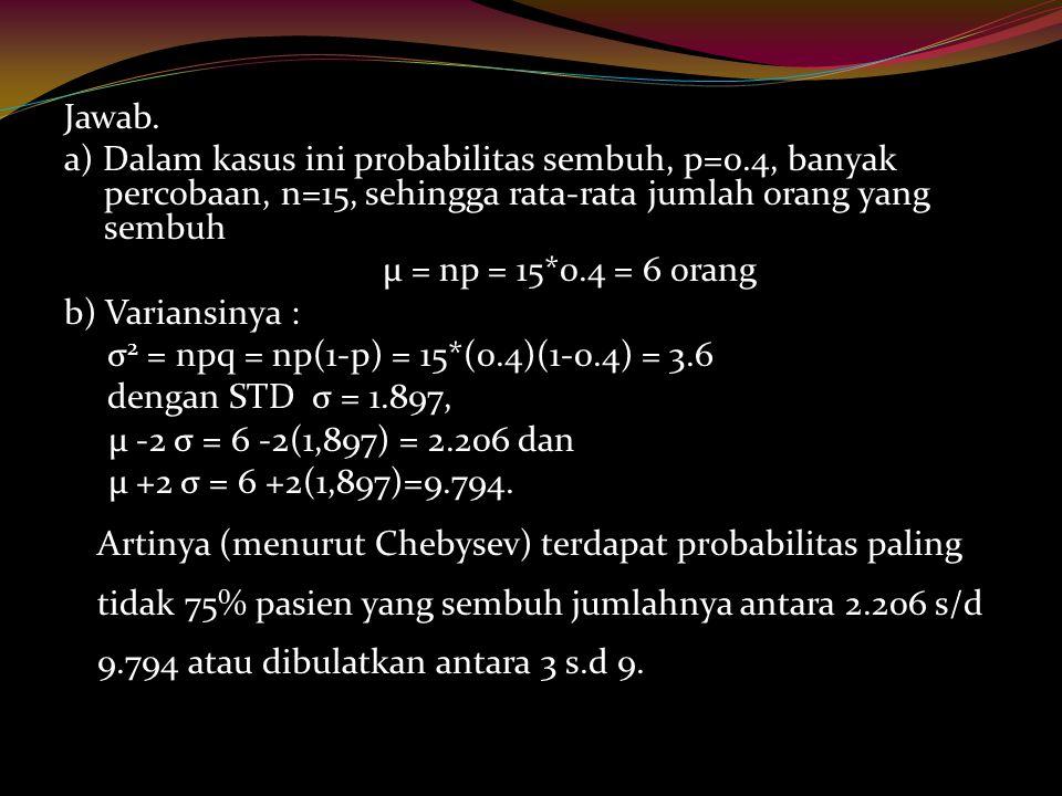 Jawab. a) Dalam kasus ini probabilitas sembuh, p=0.4, banyak percobaan, n=15, sehingga rata-rata jumlah orang yang sembuh μ = np = 15*0.4 = 6 orang b)