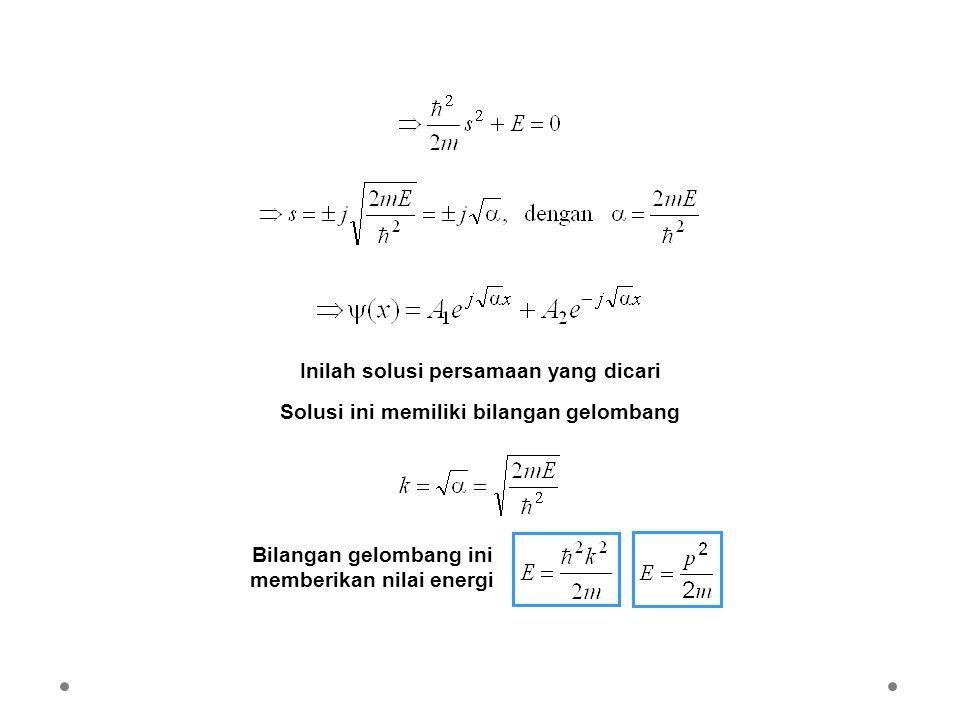 Inilah solusi persamaan yang dicari Solusi ini memiliki bilangan gelombang Bilangan gelombang ini memberikan nilai energi