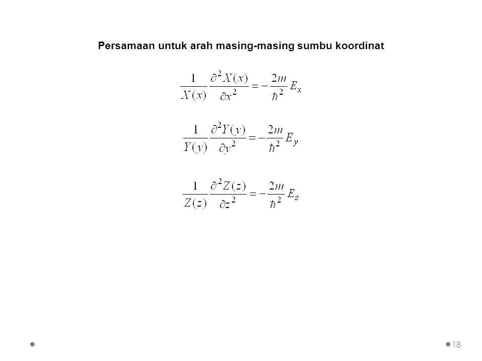 Persamaan untuk arah masing-masing sumbu koordinat 18