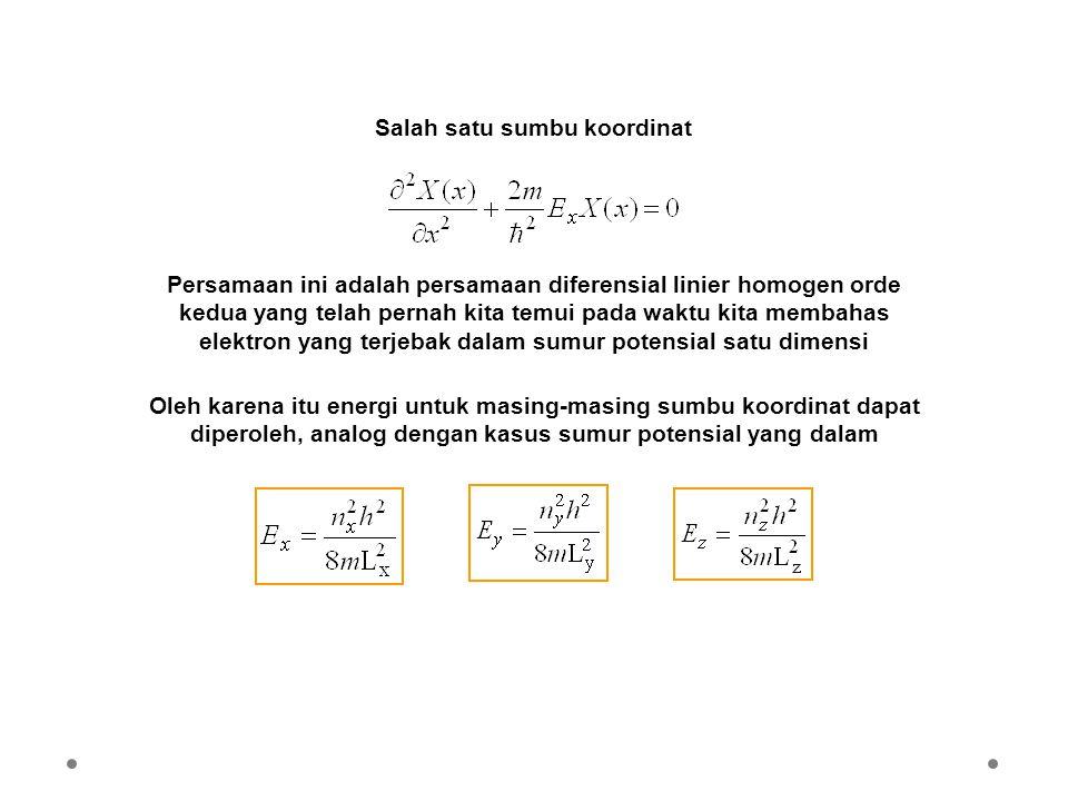 Persamaan ini adalah persamaan diferensial linier homogen orde kedua yang telah pernah kita temui pada waktu kita membahas elektron yang terjebak dala