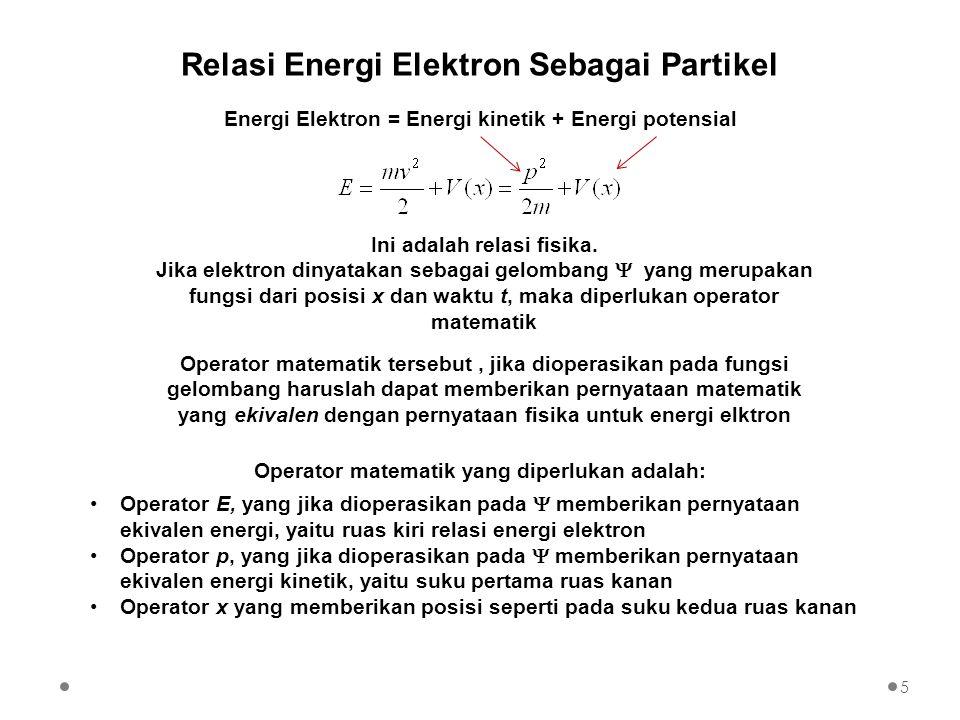 Energi Elektron = Energi kinetik + Energi potensial Ini adalah relasi fisika. Jika elektron dinyatakan sebagai gelombang  yang merupakan fungsi dari