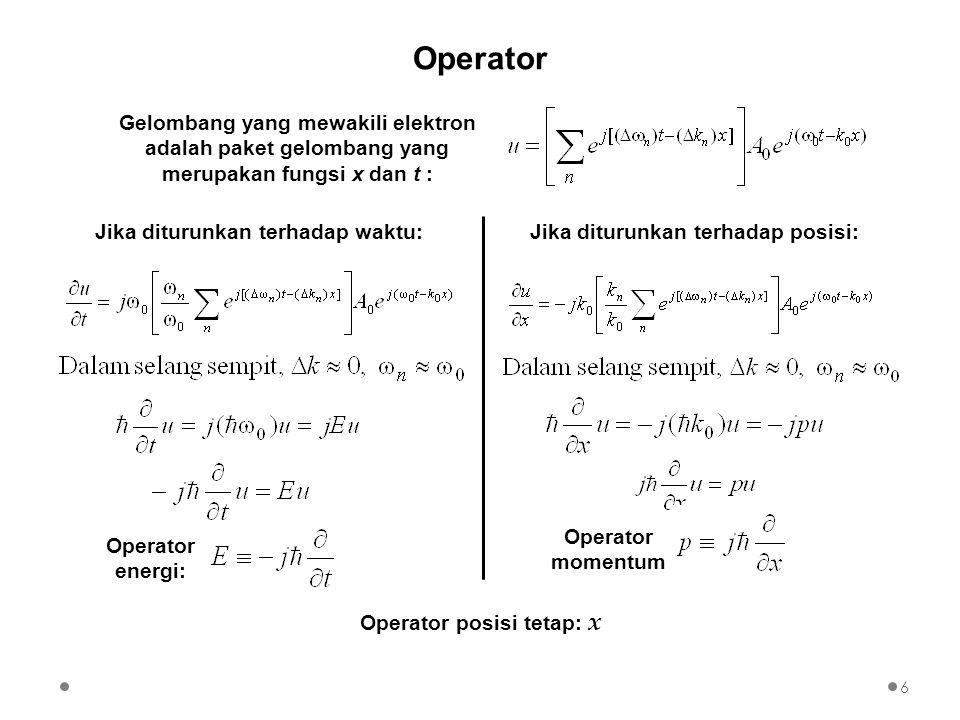 Operator Gelombang yang mewakili elektron adalah paket gelombang yang merupakan fungsi x dan t : Operator energi: Jika diturunkan terhadap waktu: Oper