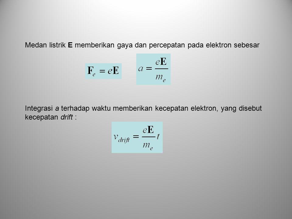 Medan listrik E memberikan gaya dan percepatan pada elektron sebesar Integrasi a terhadap waktu memberikan kecepatan elektron, yang disebut kecepatan drift :