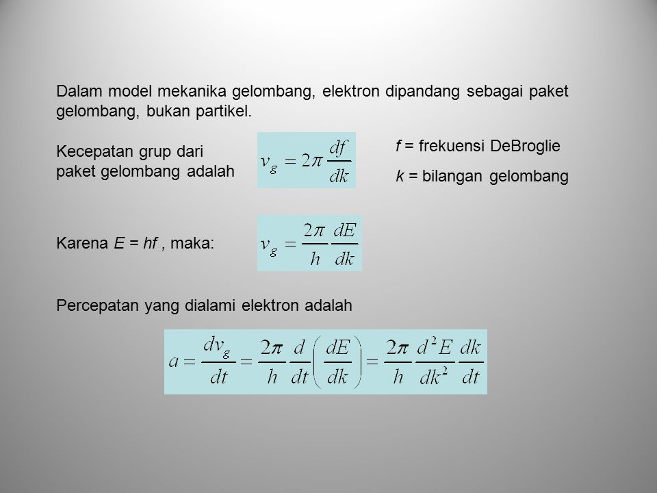 Dalam model mekanika gelombang, elektron dipandang sebagai paket gelombang, bukan partikel. Kecepatan grup dari paket gelombang adalah f = frekuensi D