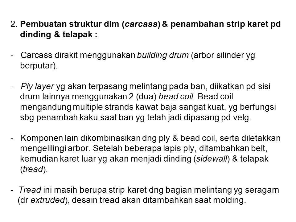 2. Pembuatan struktur dlm (carcass) & penambahan strip karet pd dinding & telapak : - Carcass dirakit menggunakan building drum (arbor silinder yg ber