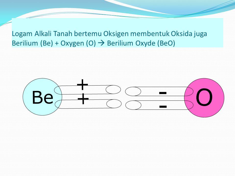 Logam Alkali Tanah bertemu Oksigen membentuk Oksida juga Berilium (Be) + Oxygen (O)  Berilium Oxyde (BeO) Be + + O - -