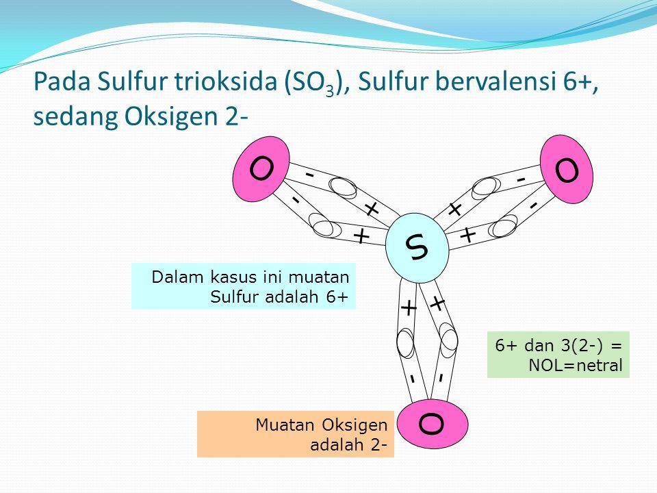 Pada Sulfur trioksida (SO 3 ), Sulfur bervalensi 6+, sedang Oksigen 2- - - O + + + + + + S 6+ dan 3(2-) = NOL=netral - - O - - O Dalam kasus ini muatan Sulfur adalah 6+ Muatan Oksigen adalah 2-