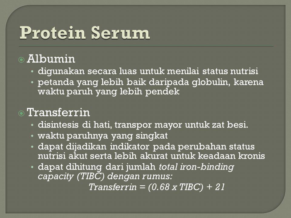  Albumin digunakan secara luas untuk menilai status nutrisi petanda yang lebih baik daripada globulin, karena waktu paruh yang lebih pendek  Transferrin disintesis di hati, transpor mayor untuk zat besi.