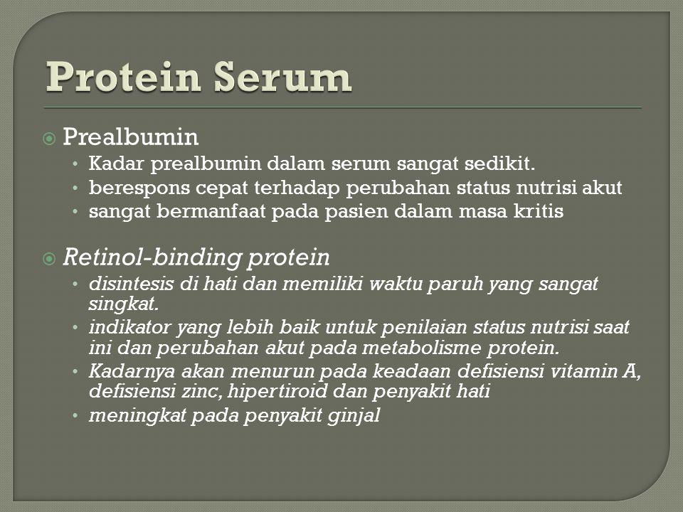  Prealbumin Kadar prealbumin dalam serum sangat sedikit.