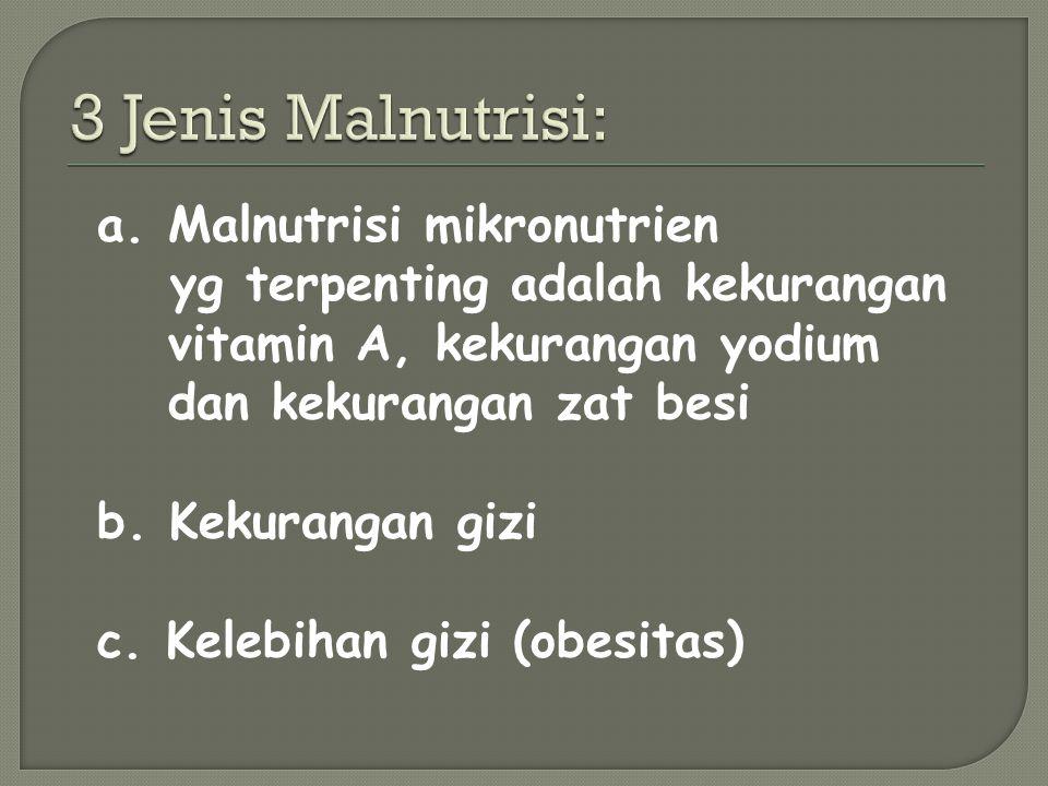a.Malnutrisi mikronutrien yg terpenting adalah kekurangan vitamin A, kekurangan yodium dan kekurangan zat besi b.