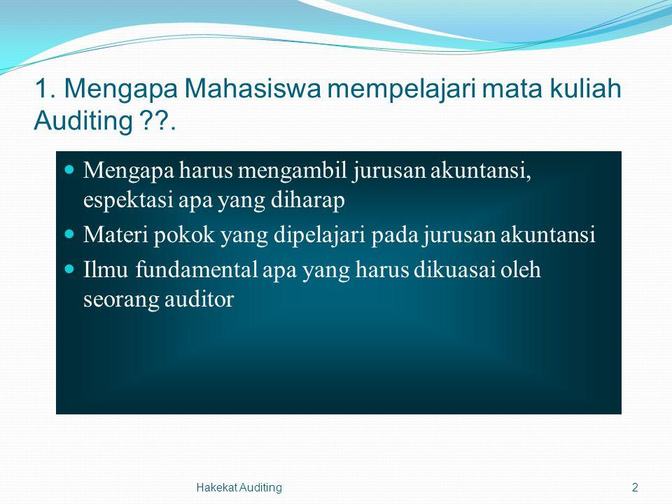 Hakekat Auditing2 1. Mengapa Mahasiswa mempelajari mata kuliah Auditing ??. Mengapa harus mengambil jurusan akuntansi, espektasi apa yang diharap Mate