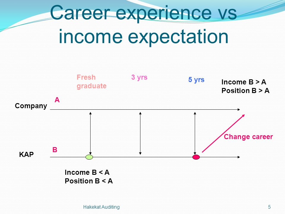 Hakekat Auditing5 Career experience vs income expectation Fresh graduate 3 yrs 5 yrs Company KAP Change career A B Income B > A Position B > A Income