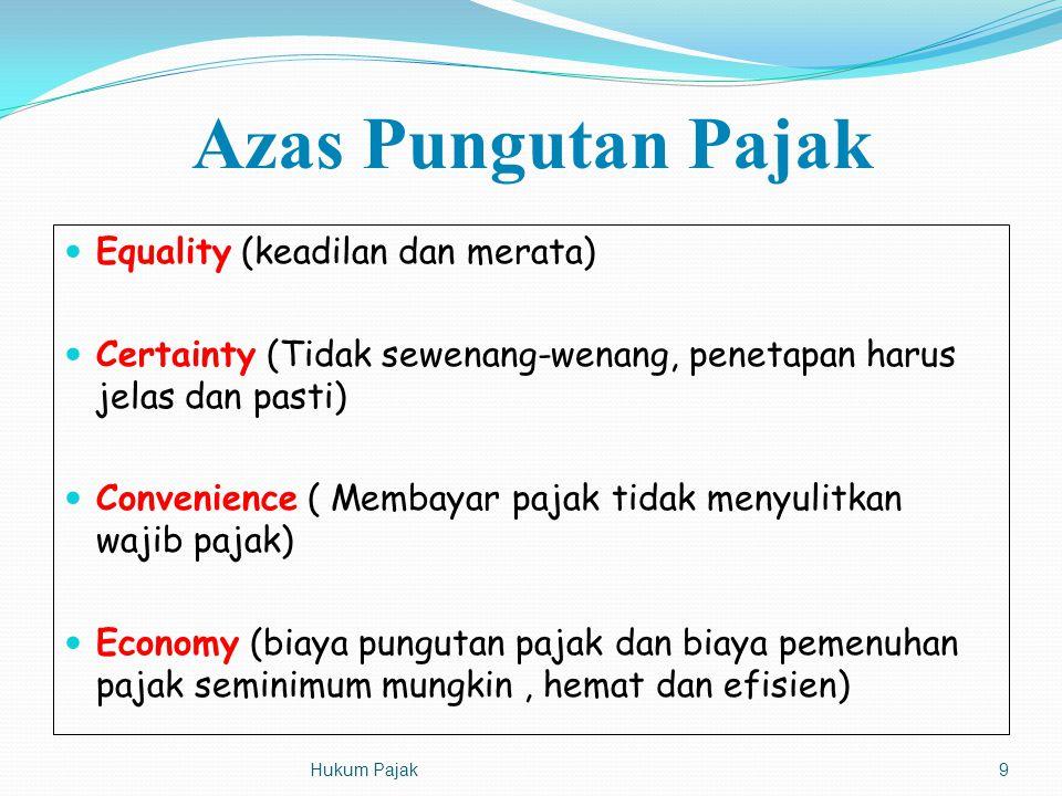 Azas Pungutan Pajak Equality (keadilan dan merata) Certainty (Tidak sewenang-wenang, penetapan harus jelas dan pasti) Convenience ( Membayar pajak tid