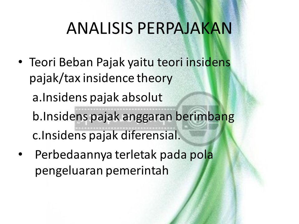 ANALISIS PERPAJAKAN Teori Beban Pajak yaitu teori insidens pajak/tax insidence theory a.Insidens pajak absolut b.Insidens pajak anggaran berimbang c.I