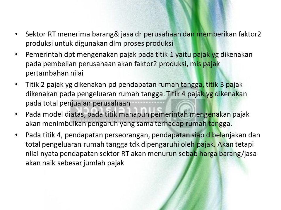 Sektor RT menerima barang& jasa dr perusahaan dan memberikan faktor2 produksi untuk digunakan dlm proses produksi Pemerintah dpt mengenakan pajak pada